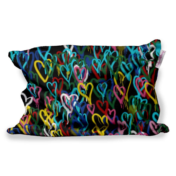 COLORFUL HEARTS FUZZY PILLOW