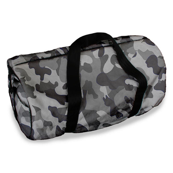 GREY CAMO DUFFLE BAG