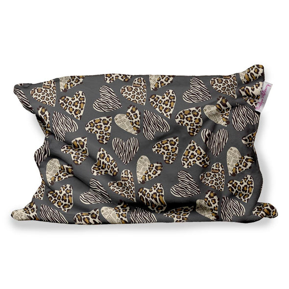 LEOPARD HEARTS FUZZY PILLOW