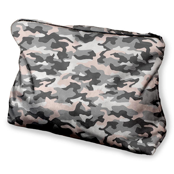 PINK GREY CAMO COSMETIC BAG
