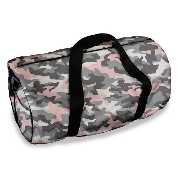 PINK GREY CAMO DUFFLE BAG