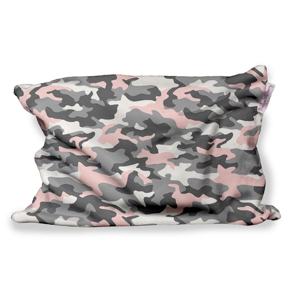 PINK GREY CAMO FUZZY PILLOW