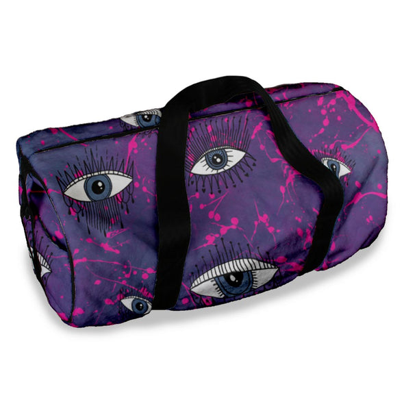 PINK SPLATTER EVIL EYES DUFFLE BAG