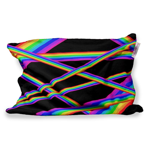 RAINBOW STRIPES FUZZY PILLOW