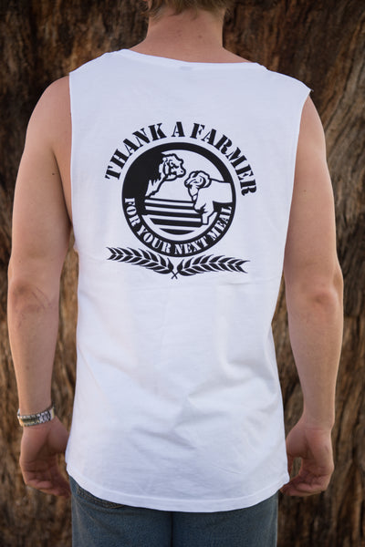 White Thank A Farmer Muscle Tee