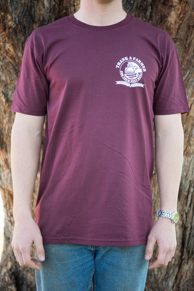 Burgundy Thank A Farmer Logo Tee