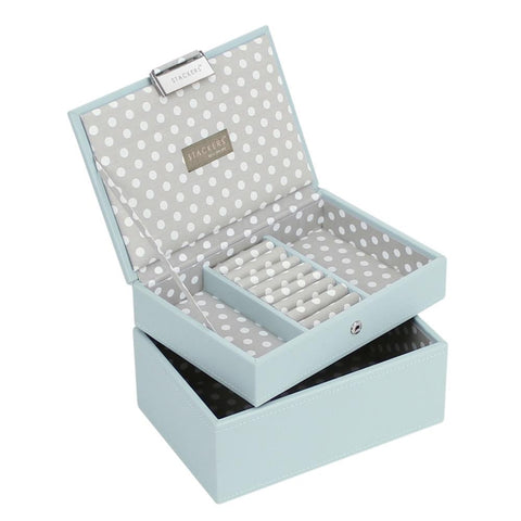 Stackers Duck Egg & Grey Mini Set of 2 Jewellery Trays