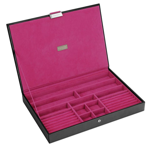 Stackers Black & Fuchsia Supersize Lidded Jewellery Tray