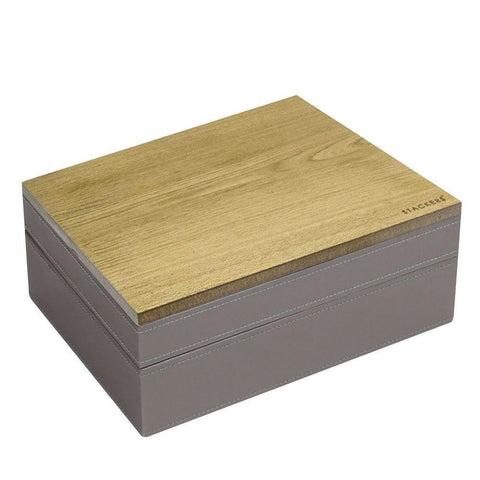 Stackers Mink & Grey Classic Set of 2 With Wooden Lid Jewellery Trays