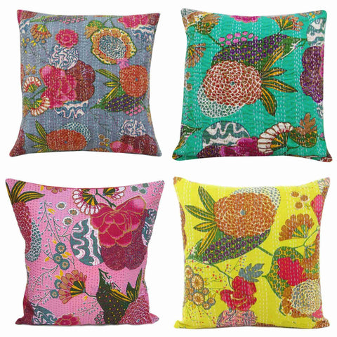 24X24 Indian Kantha Throw Pillow Covers