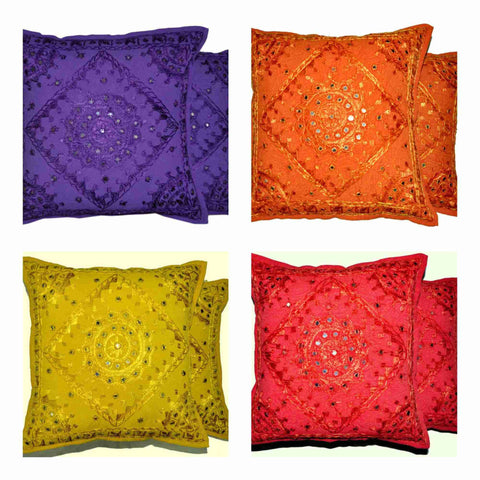 Indian Mirror Embroidery Pillows