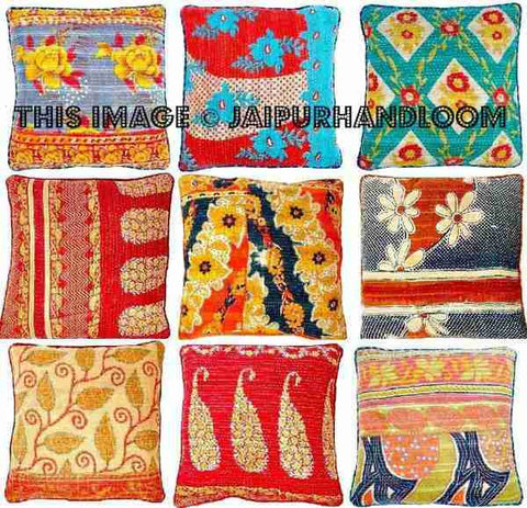 Vintage Kantha Pillows | 16X16 inches