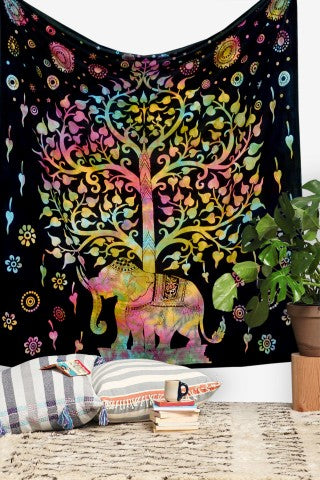 tie dye tree of life tapestry