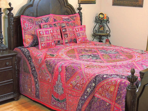 indian embroidered bedding patchwork bedspread