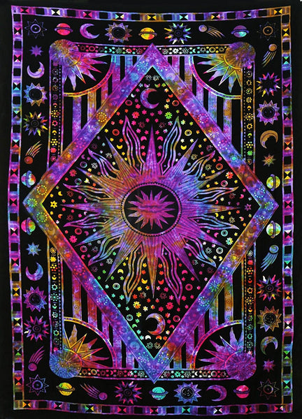 Tie Dye Purple Burning Sun Tapestry