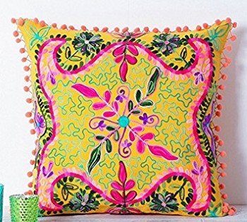 indian embroidered cushion cover