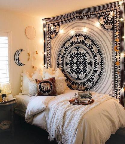 Black and White Elephant Wall Tapestry by Jaipur Handloom