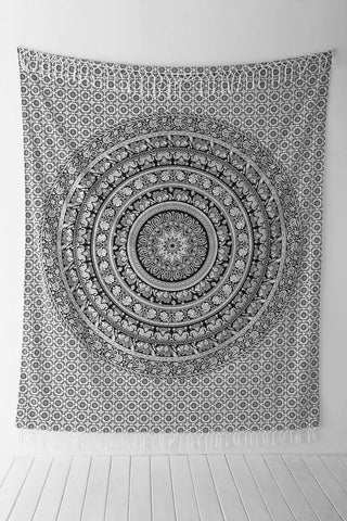 Black and White Wall Tapestry by Jaipur Handloom