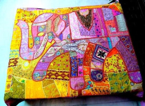 Bohemian Bedding and boho chic decor ideas - jaipur handloom - Elephant Bedding indian patchwork quilt