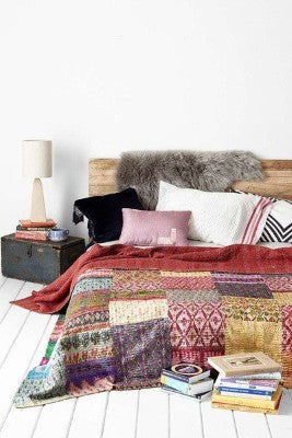 Bohemian Bedding and boho chic decor ideas - jaipur handloom - Silk Sari kantha Bedding