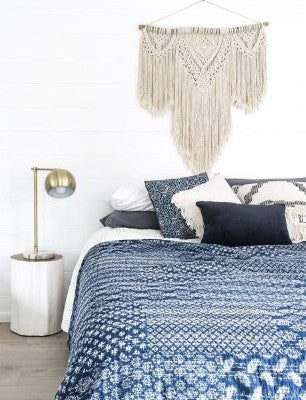 Bohemian Bedding and boho chic decor ideas - jaipur handloom - Indigo Kantha Bedspread