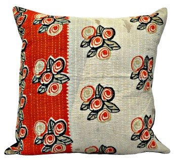 bohemian kantha throw pillow