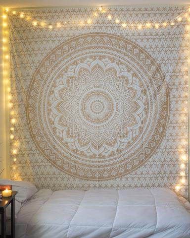 Gold Medallion Wall Tapestries by Jaipur Handloom