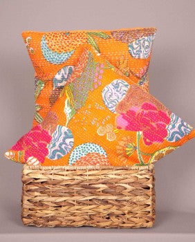 orange kantha sofa throw pillows