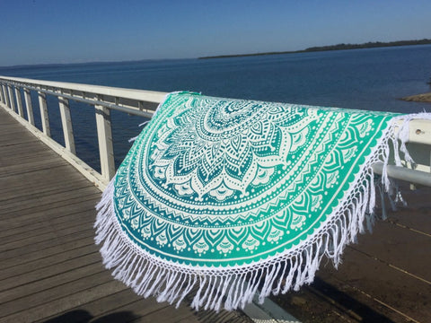 Sea green ombre Beach Towel