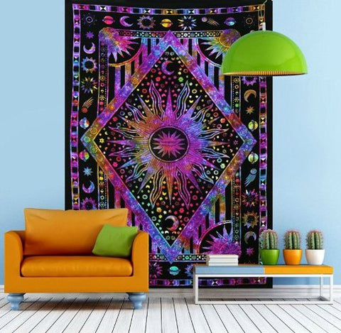 Purple Tie Dye Sun and moon tapestry by Jaipur Handloom