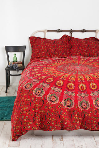 Red Medallion Tapestry Peacock Print by Jaipur Handloom