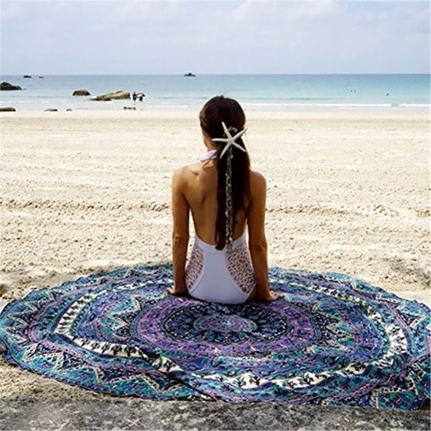 Round Beach-Throw-Towel-Yoga-Mat-Gypsy - jaipurhandloom.com