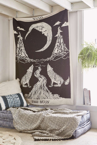 Wolf and Tarot Moon Wall hanging by Jaipur Handloom