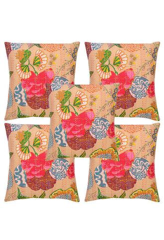 set of 5 kantha throw pillows - jaipur handloom