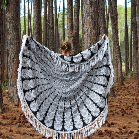 Black and white beach blanket  Mandala Fringed Roundie - Jaipurhandloom.com