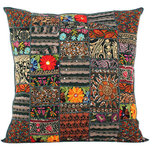black embroidered cushion cover - jaipur handloom