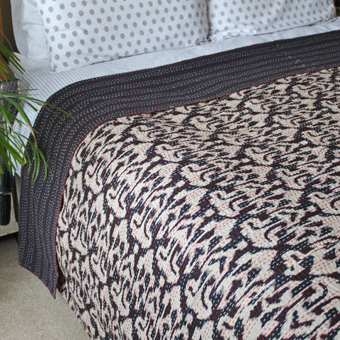 black ikat kantha throw
