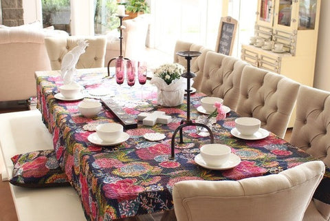 black floral kantha table cloth