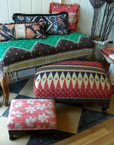 What's deal with Adorable Vintage Kantha Quilts - Upholstered kantha Furniture from Jaipur Handloom