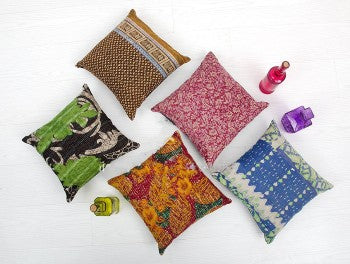 vintage kantha throw pillows