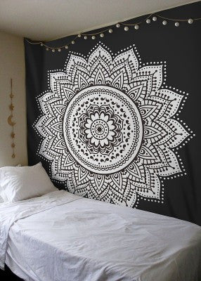 Black And White Mandala Tapestry - College Checklist, Dorm Room Ideas & Essentials