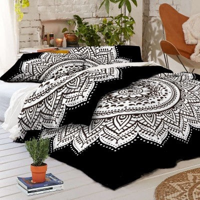 Black and White Mandala Duvet Cover set with pillows for Dorm room College Decor