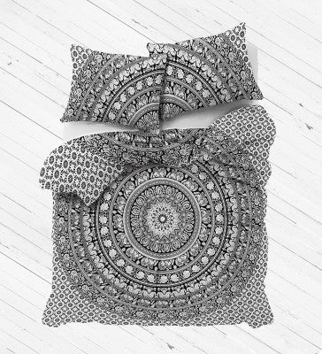 Black and white elephant Mandala Duvet Cover set with pillows for Dorm room College Decor