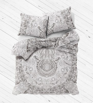 Grey Hamsa Duvet Cover set with pillows for Dorm room College Decor