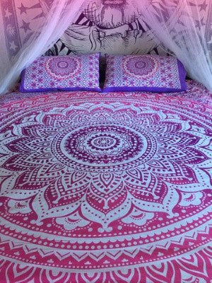 Pink Ombre Mandala Duvet Cover set with pillows for Dorm room College Decor