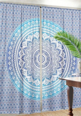 Blue Ombre Curtains for Dorm room Decor