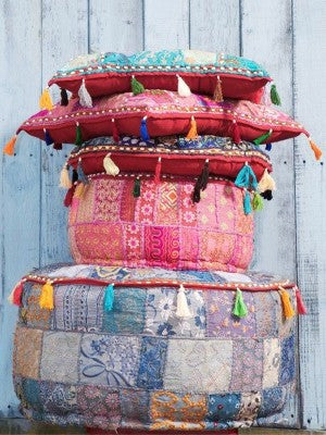 Boho indian poufs for dorms college room decor