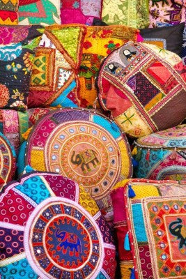 colorful Indian Poufs for Dorm rooms