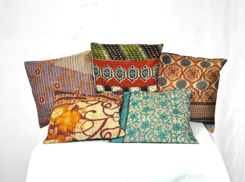 decorative kantha throw pillows - jaipur handloom