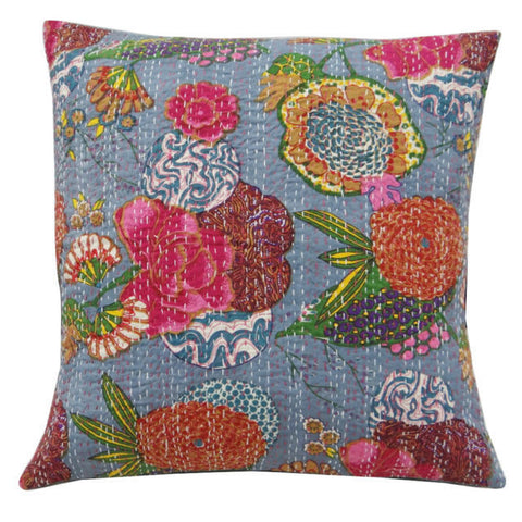 gray floral kantha throw pillow - jaipur handloom
